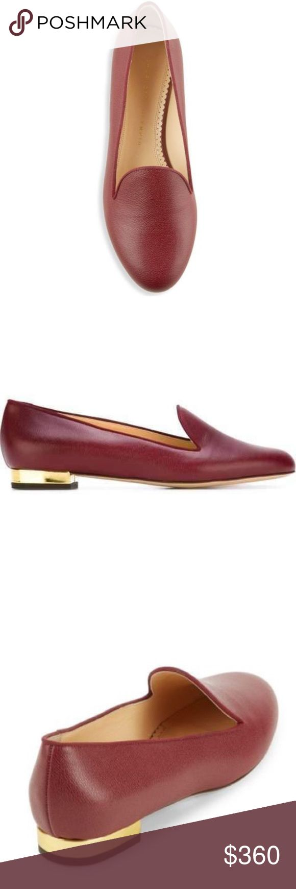 Charlotte Olympia ⭐️NEW⭐️ Burgundy Loafers Shoes come with a set of 52 leather adhesive stickers in an array of playful designs - including the full alphabet.This favorite combination can be stuck to shoes. Made in Italy 🇮🇹  - Gold leather-covered heel measures approximately 10mm/ 0.5 inches - Burgundy leather - Slip on ✔️Brand new with box  ✔️ Pet free, smoke free environment ✔️ Listed product is original  ✔️ Size 7M, Color : Burgundy Charlotte Olympia Shoes