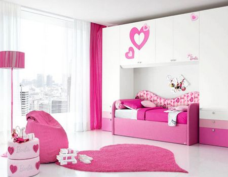Bedroom Simple Ideas For Girls Bedroom Designs You Can Apply At Home: Pink  Bedroom Design For Women With White Ceramic Tile Heart Shape Rug Pink Drum  Stand ...