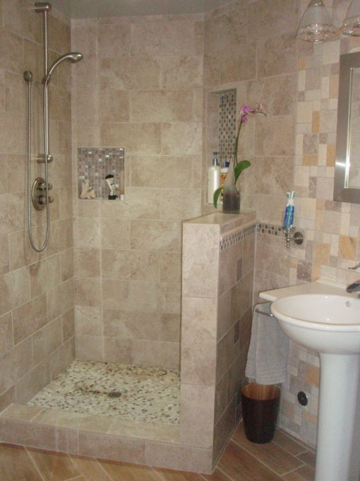 11 best small walk in tile shower images on pinterest for Walk in showers for small bathrooms