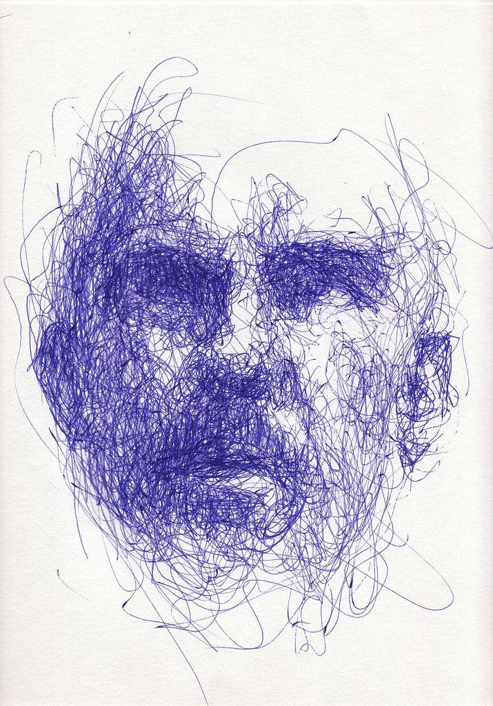 """ball pen drawing   weird face (mine again), weird angle and lighting,  via webcam, 16""""x12"""" Bic Cristal Gel Medium pen on paper"""