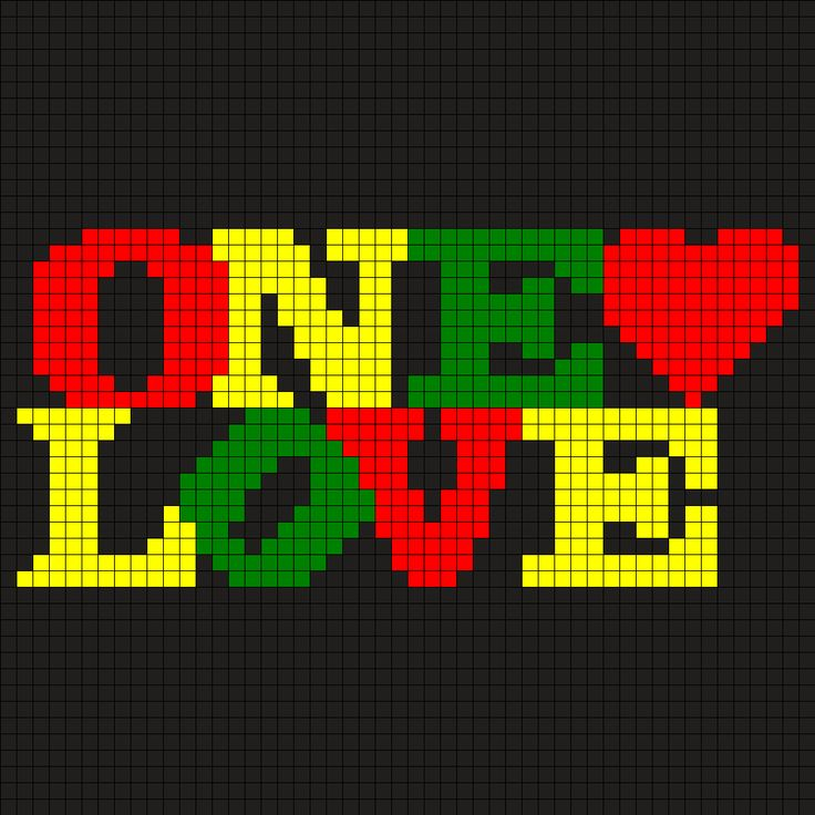 One_Love by Monaa on Kandi Patterns   Leuk voor een kussen