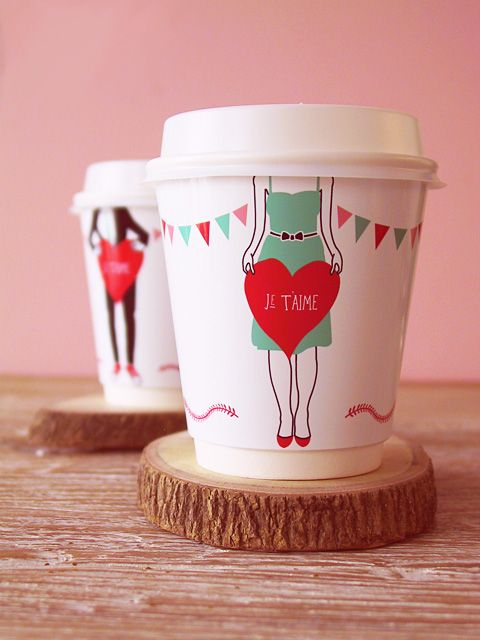DIY 'Je t'aime' coffee cup wrappers » Eat Drink Chic: Valentine'S Day, Ideas, Valentine'S S, Valentines Day, Valentines Gifts, Coff Cups, Cups Wrappers, Free Printable, Diy