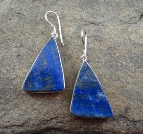Lapis Earrings by Entia Silver Jewellery. Triangular shape 3 cm high x 2 cm wide. Lapis at its best from Afghanistan with a beautiful shimmer of golden pyrite. www.threemadfish.com