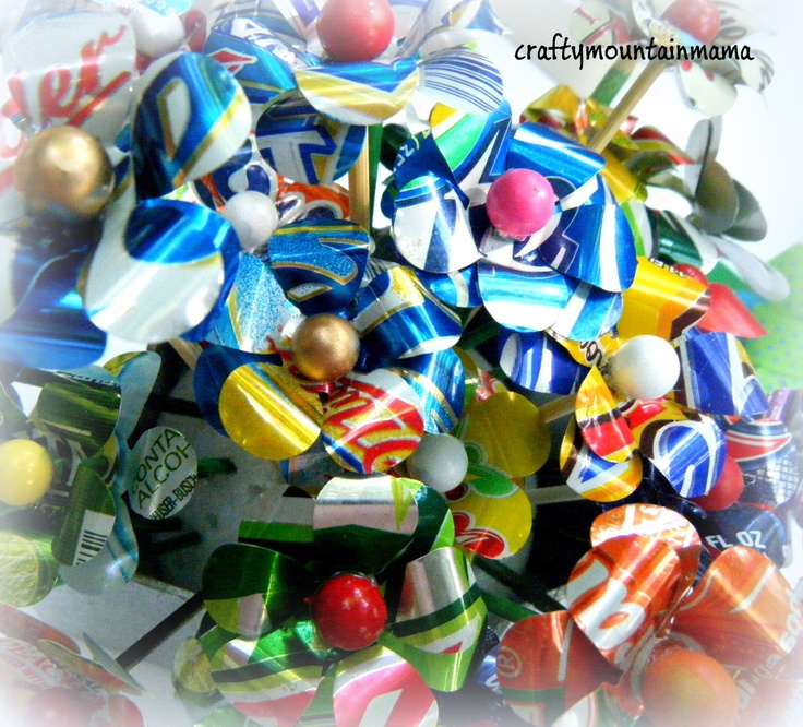 coke can flowers | Create Your Own Bouquet, 7 Soda Can or Beer Can Flowers of Your Choice
