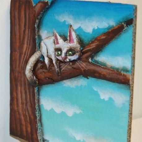 Cathy Mouis - Chat sur un arbre
