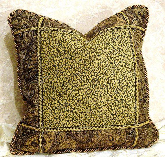 Awesome High End Designer Throw Pillows Part - 13: Luxury Designer Throw Pillow 1 Decorative Paisley Cheetah Leopard Animal  Black Gold Tan 21 In Custom
