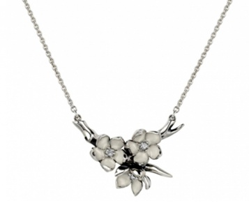 Shaun Leane sterling silver 'Cherry Blossom' ivory flower and branch necklace