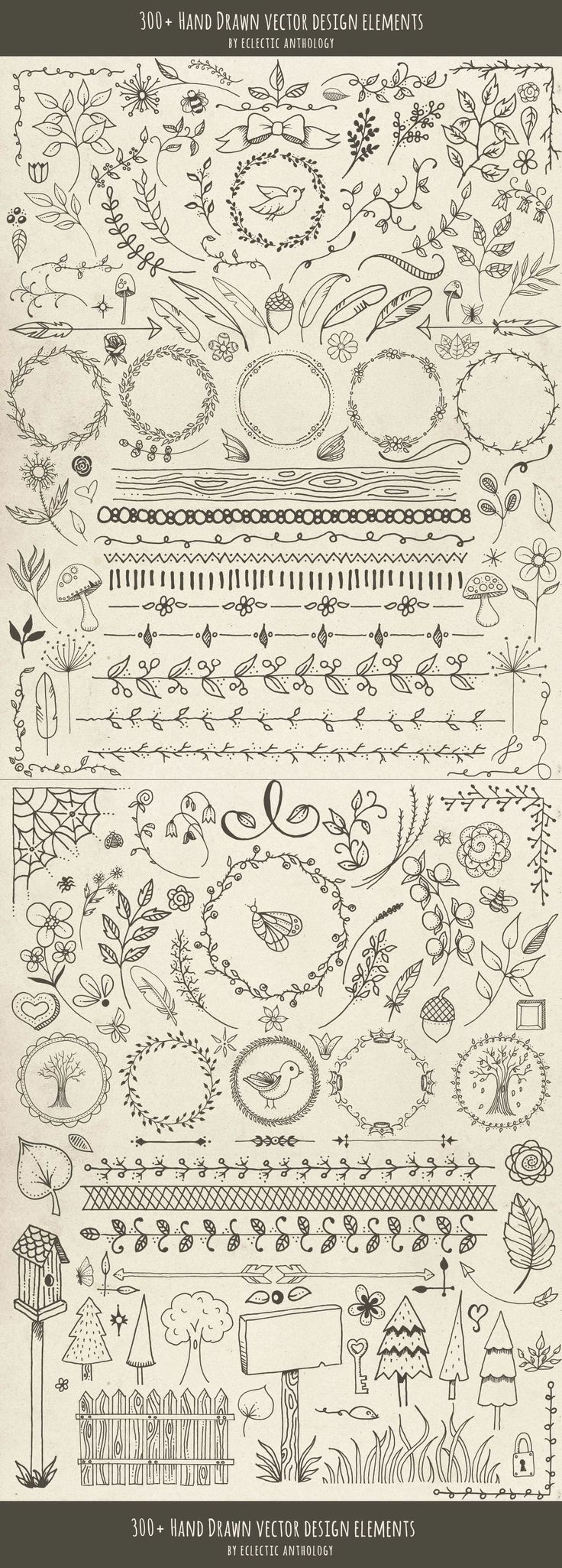 YESSS Best Nature Themed-!Hand Drawn Vector Design Elements