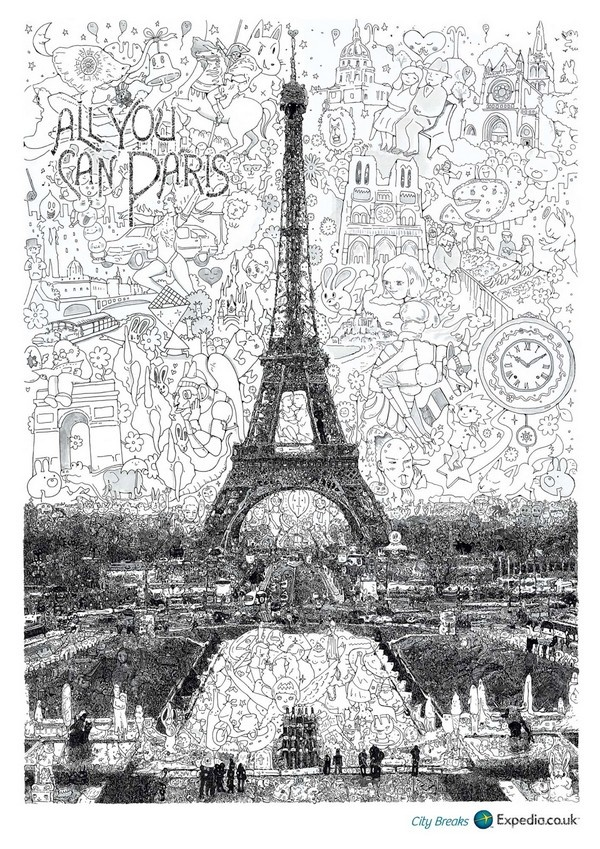 For its new advertising campaign, the travel company Expedia has appealed to the Japanese artist Keita Sagaki for the realization of three posters print. It contains monuments headlights cities of London, Paris and Moscow reconstructed from a multitude of drawings and details representing the city historically or culturally.