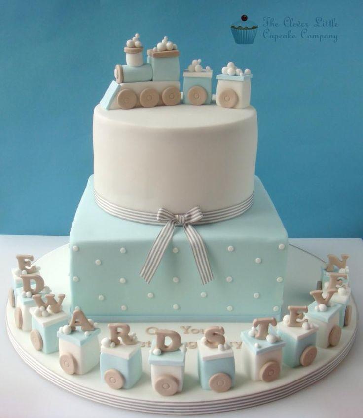 Train Christening Cake