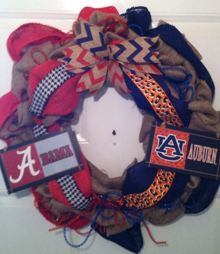 Alabama Crimson Tide - Auburn Tigers House Divided Wreath We can do ANY TEAM Or SPORT We Welcome Custom Orders  #RollTide #CrimsonTide #UA #AlabamaFootball #SEC #AuburnTigers #WarEagle #GusBus #AU #AuburnFootball #HouseDivided #MancaveDecor #CollegeFootball #CollegiateSports