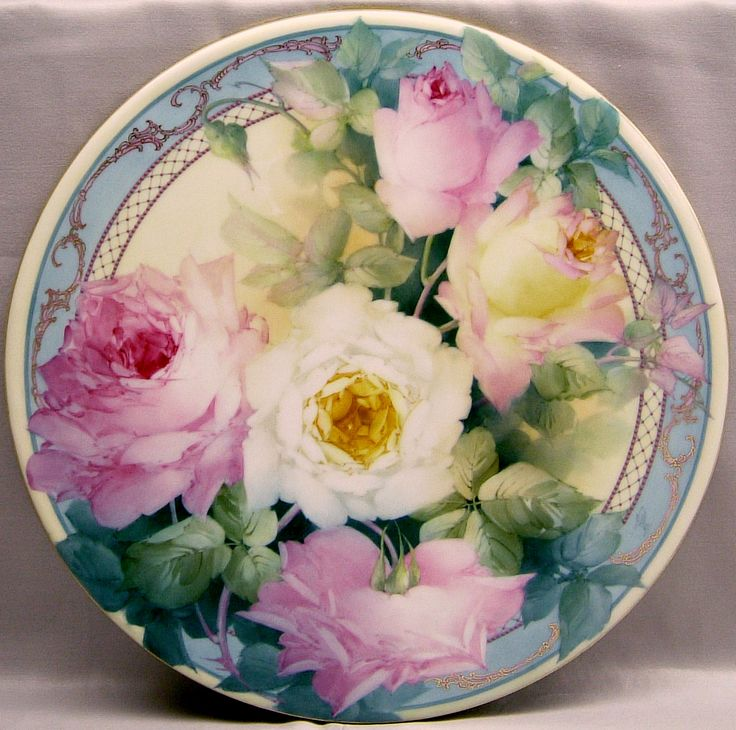 Rose Variety with band; hand-painted plate by Paula Collins