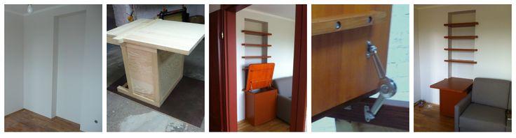 W pustej wnęce w ścianie zbudowaliśmy funkcjonalne biurko z podnoszonym blatem oraz półki.