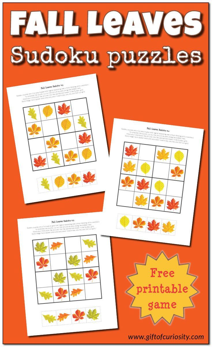 Free printable Fall Leaves Sudoku puzzles adapted to be used by young children. Great for challenging kids' critical thinking skills. Beautiful graphics too!    Gift of Curiosity