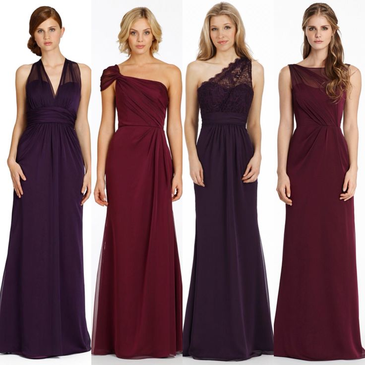 Aubergine, deep red, purple plum and dark cherry colour bridesmaid dresses. Available to order at #DaughterOfEveBoutique. Jim Hjelm Occasions. www.daughterofeveboutique.com