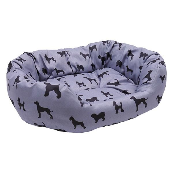 Padded Dogs Print Grey Oval Bed Grey Dog Bed Dog Bed Oval Dog Bed