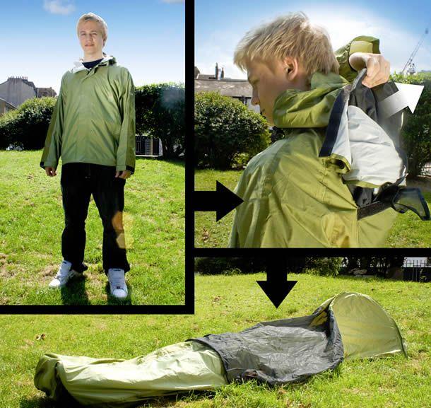 The Jakpak.  Its a jacket.  Its a sleeping bag.  Its a tent >>> urban survivability //