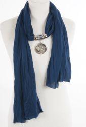 Jeansblauwe kettingsjaal met hanger