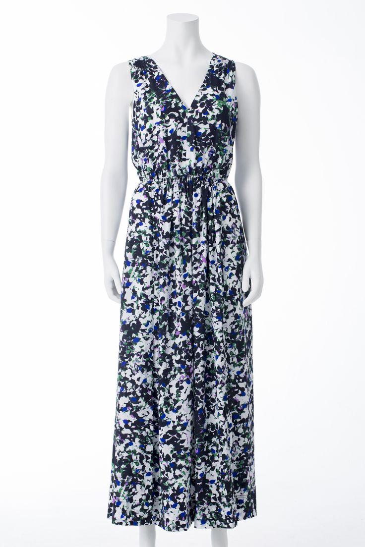 Robe longue imprimés verts, mauves et blancs, BANANA REPUBLIC, 215$ * Black, green and purple print maxi dress, BANANA REPUBLIC, $215