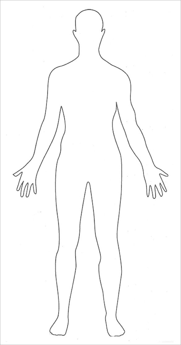 It is a picture of Accomplished Printable Human Body Outline Template Pdf