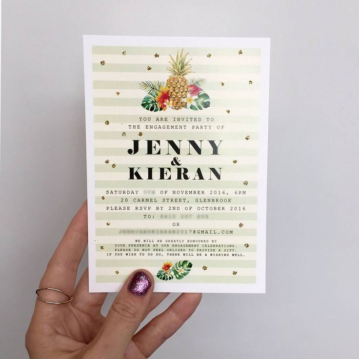 Gold glitter makes these tropical engagement invitations pop! http://candlebarkweddings.com.au/pre-wedding-events/engagement-invitations.html