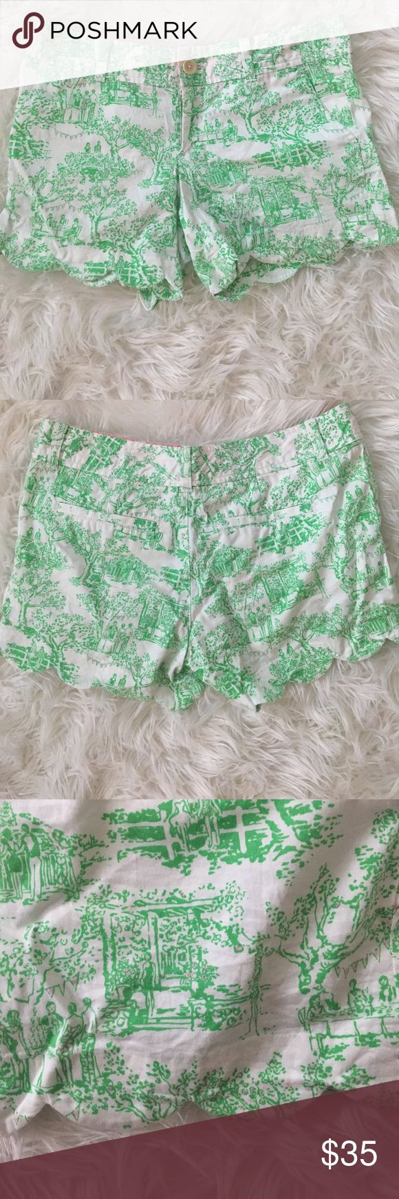 """Lilly Pulitzer Buttercup Scallop Shorts! Adorable Lilly Pulitzer 5"""" buttercup scallop hem shorts! Size 4, 100% cotton, worn once! Lilly Pulitzer Shorts"""
