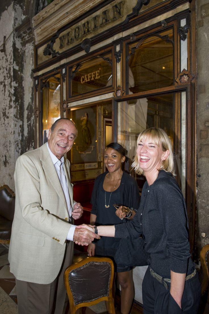 Jacques Chirac at the Caffè #Florian a #Venezia San Marco - Florian #cafè in #Venice Saint Mark #travel #travelinspiration #italy #italia #veneto #italianalluretravel #france #president