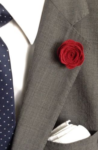 CABERNET RED Men's Wool Felt Flower Lapel Pin Rose Boutonniere, Hand made in USA