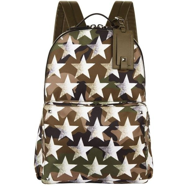 Valentino Star Camouflage Backpack (5.465 BRL) ❤ liked on Polyvore featuring bags, backpacks, genuine leather backpack, leather zip backpack, camouflage backpacks, brown leather backpack and camo rucksack