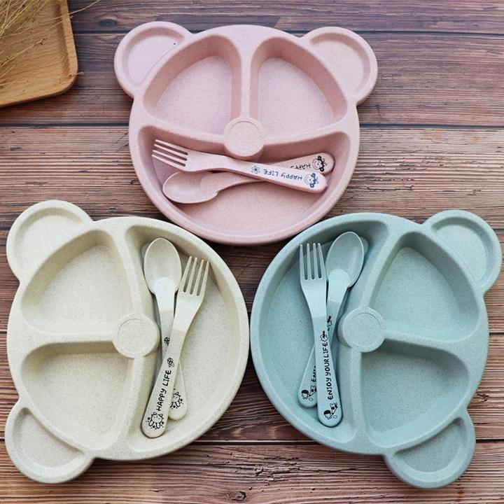 Cartoon Lovely Panda Wheat Straw Baby Dish Children Rice Bowl Plate Baby
