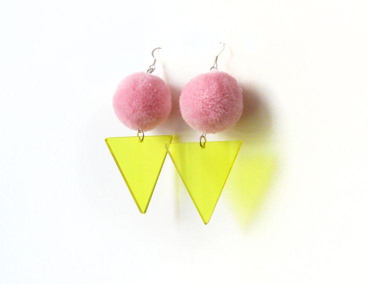 Pink Pom Pom Earrings, Neon Yellow Acrylic Triangle Earrings, Party Earrings, Fluffy Earrings, Lazer Cut Jewelry, Disco 80s Fancy Earrings by petiteutile on Etsy
