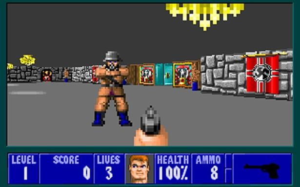 Wolfenstein 3D. Yes, back in ye olden days this was actually considered the first 3D game.