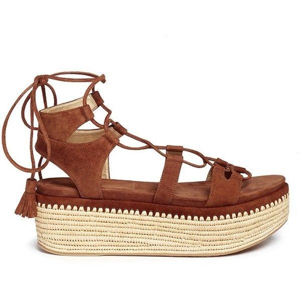 Stuart Weitzman 'Romanesque' raffia platform lace-up gladiator suede... found on Polyvore featuring shoes, sandals, brown, gladiator sandals shoes, brown sandals, roman sandals, suede lace up sandals and suede gladiator sandals
