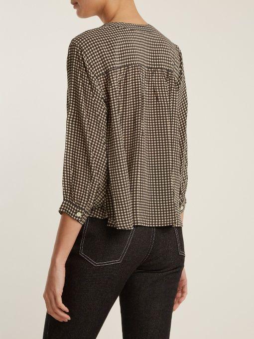 The Great The Wayfarer silk-gingham blouse