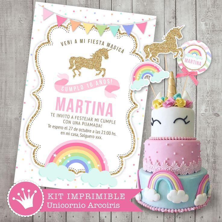 kit imprimible unicornio y arcoiris decoracin para fiestas y cumpleaos shabby chic estilo