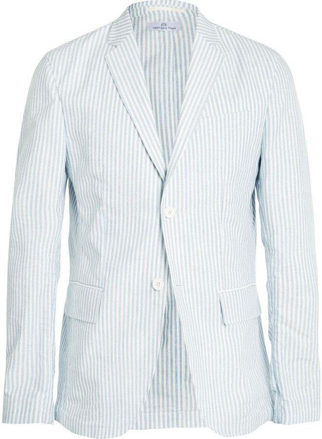$500, Light Blue Seersucker Blazer: Hentsch Man Striped Cotton Blazer. Sold by MR PORTER. Click for more info: https://lookastic.com/men/shop_items/252674/redirect