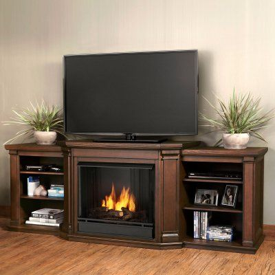 Real Flame Valmont Entertainment Center Ventless Gel Fireplace - Chestnut Oak - 7930-CO