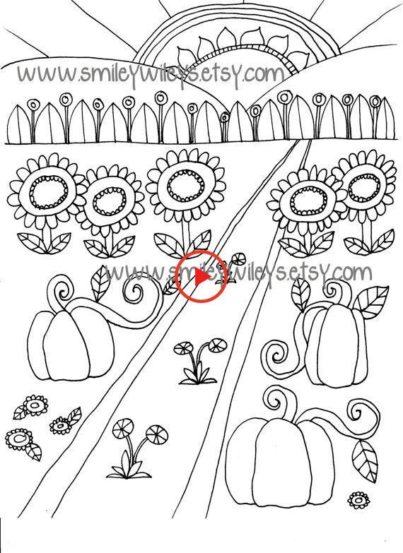 Happy Garden Printable Colouring Book Pages Set Of 5 Different Pages Gardenclub Printable Coloring Book Coloring Books Printable Coloring
