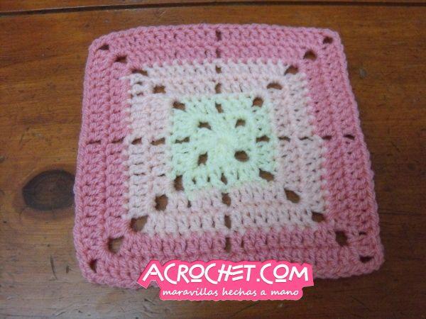 Manta cuadros 3 colores todo crochet pinterest - Punto de ganchillo para mantas ...
