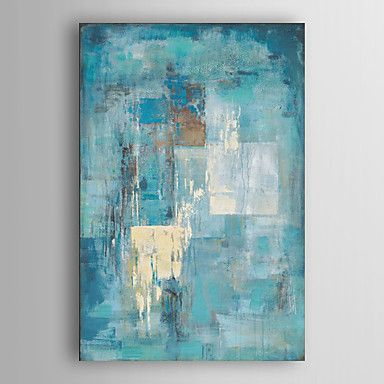 Hand Painted Oil Painting Abstract Indigo Wall with Stretched Frame 7 Wall Arts® – AUD $ 118.99