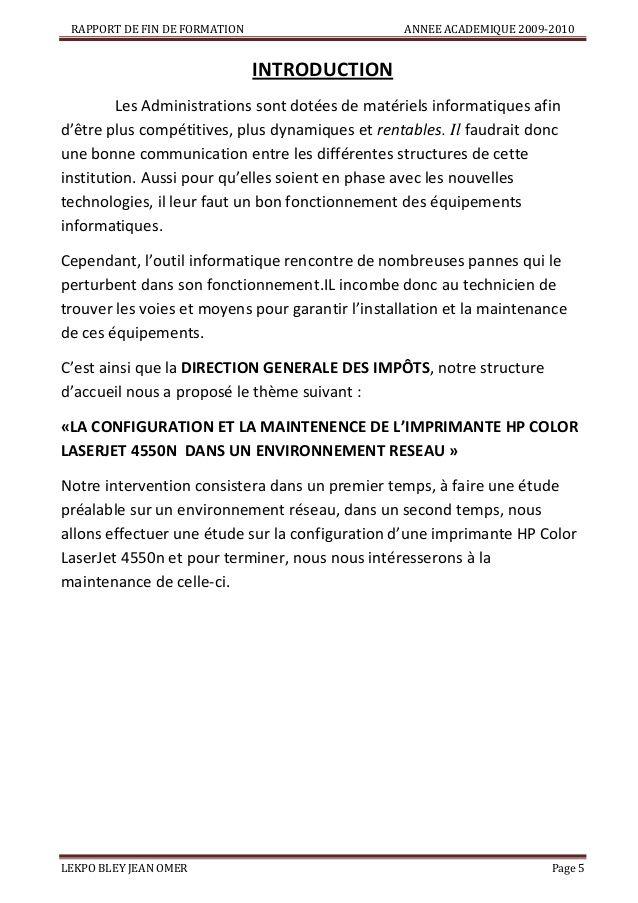 Rapport De Fin De Formationannee Academique 2009 2010introductionles Admin Lettre De Motivation Exemple De Lettre De Motivation Lettre De Motivation Technicien