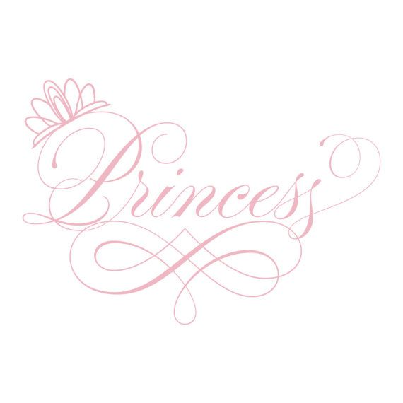 Princess Wall Decal - Elegant Script Princess Tiara - Baby Girl Nursery Vinyl Wall Art Toddler Teen Room 22H x 32W GQ002