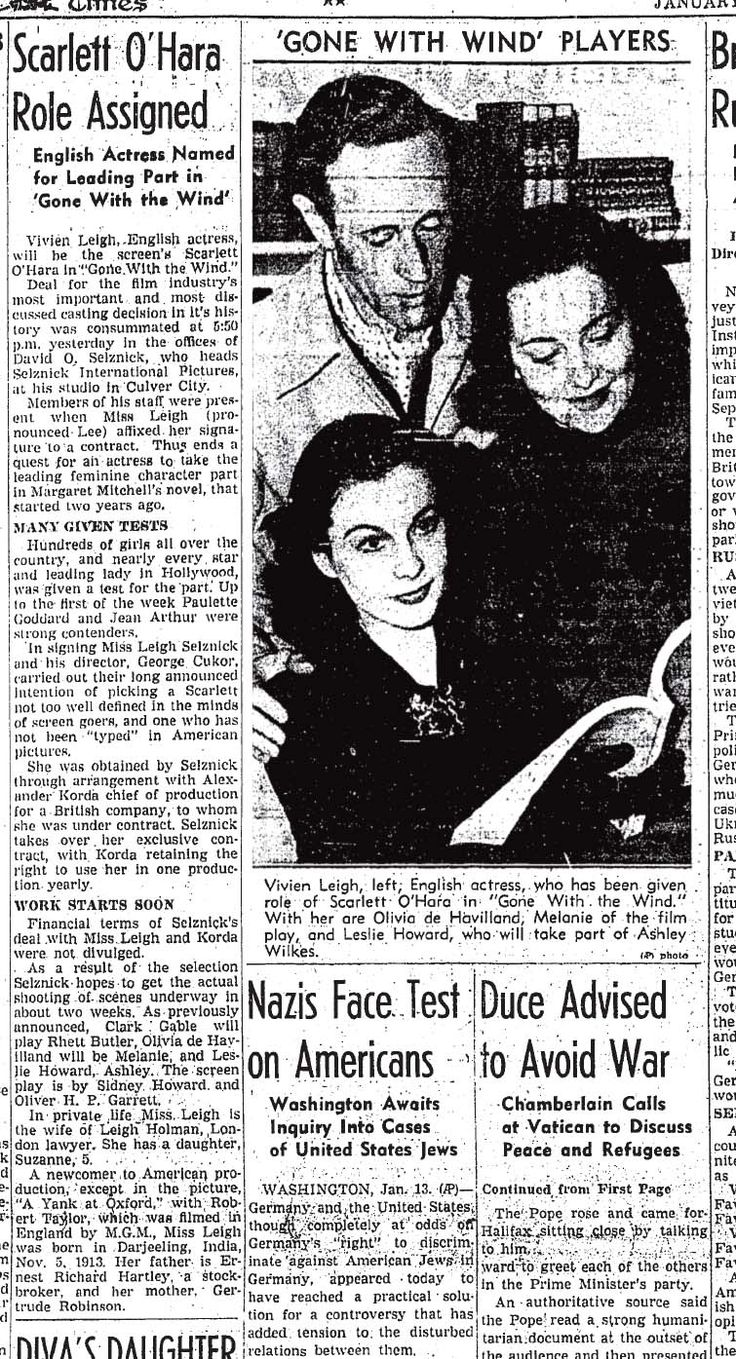 best images about gone the wind newspaper announcement for gone the wind movie role assignments vivien leigh leslie howard and olivia de havilland