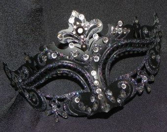 Navy Blue and Silver Ladies Masquerade Mask by TheCraftyChemist07
