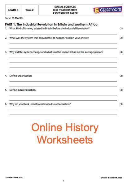 Grade 8 Online History Worksheets. For more worksheets visit www.e-classroom.co.za!