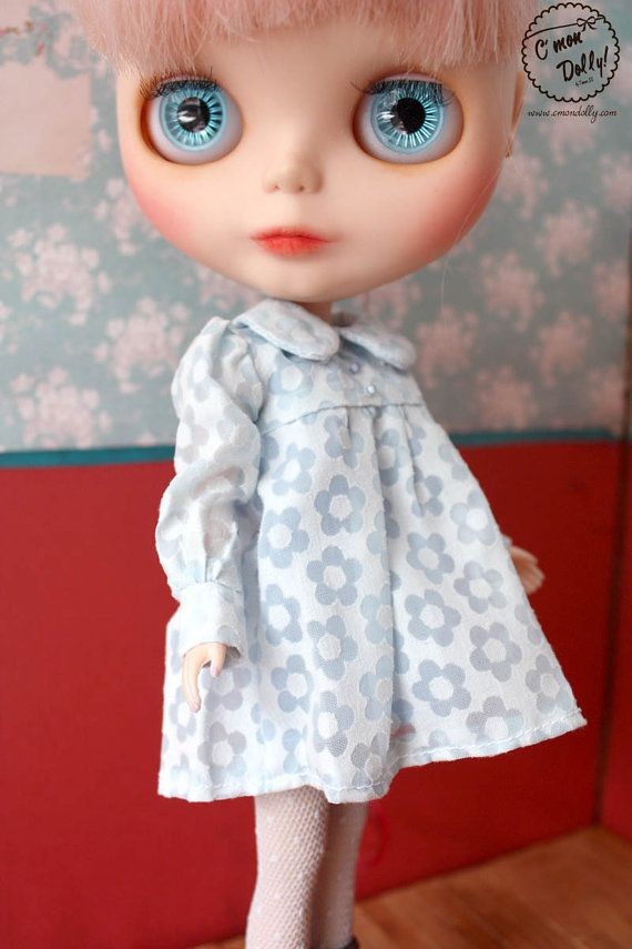 Blythe Licca Retro 60s Flowers Blue Dress Set by cmondolly on Etsy