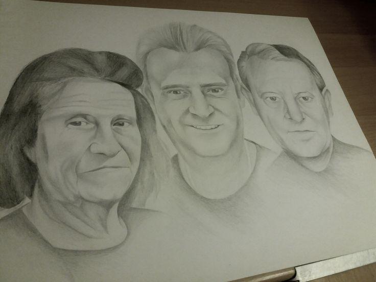 Családi montázs portré rajz