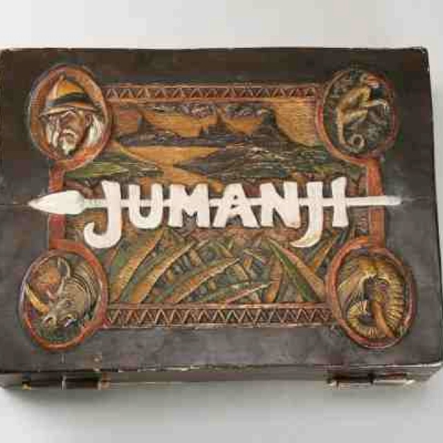 Jumanji board game. Based off of the movie. I wish I could have one of the wooden ones! So amazing.