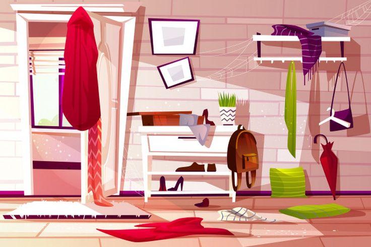 messy couloir retro illustrazione corridoio della interna stanza vettore drawer unordentliche appartamento slordige disordinata sudicia cartoon apartment innenillustration vecteurs wardrobe