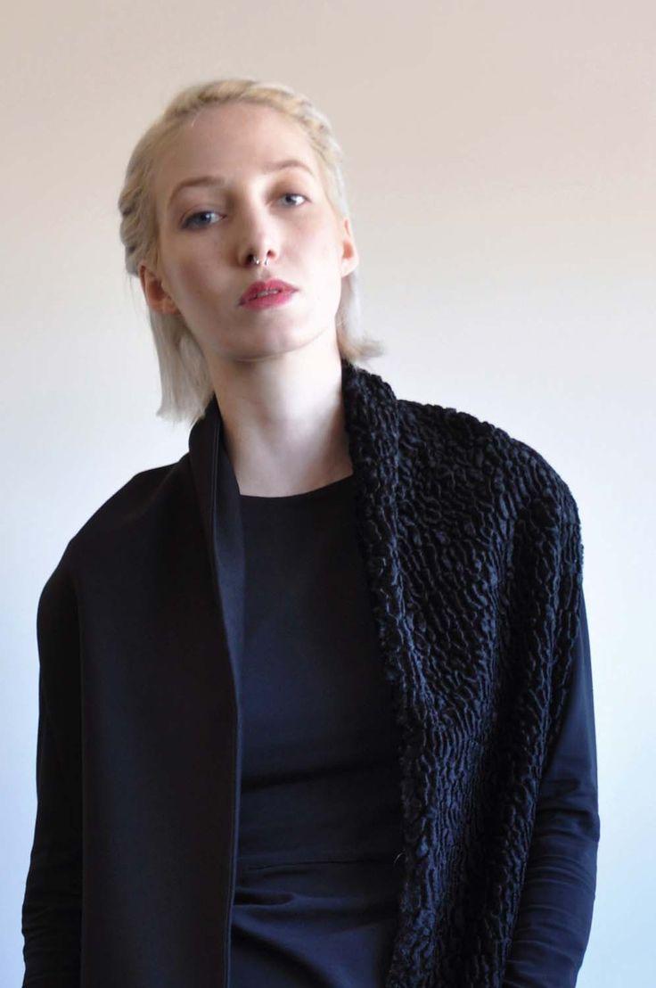 Aroma30 - Minimal chic Astrakan and jersey scarf